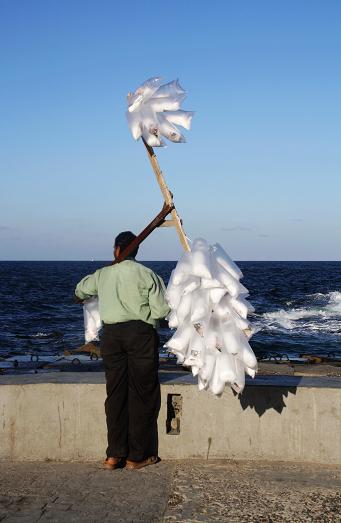 地中海边卖棉花糖的大叔