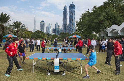 Ping Pong Dubai fans in action at Safa Park