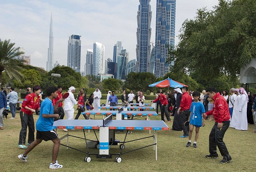 The Dubai Ping Pong community engages in a free hit with China Ping Pong Players