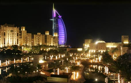 Burj Al Arab and them Madinat Jumeirah in Dubai